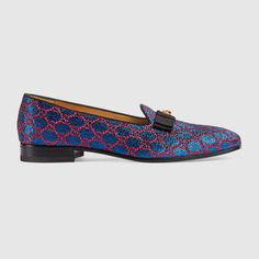 "$830 GUCCI Lurex GG loafer - SOLD by GUCCI - affiliate - The loafer is designed with a sleek, slipper inspired silhouette in a lurex GG fabric. The grosgrain bow is enriched with a metal feline head.  Black grosgrain piping  Black grosgrain bow with metal feline head  Leather sole  .75"" heel height  Made in Italy"