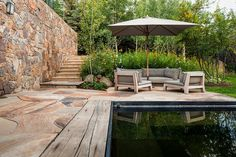 gorgeous pool area. love the wood.
