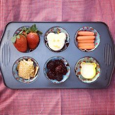Muffin Tin Mom: Muffin Tin Meal - Little Mouse, Red Ripe Strawberry and the Big Hungry Bear. Link comes with a video of the story that the meal depicts so that your child can watch then eat the food featured.