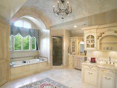 Master bathroom with venetian plaster barrel ceiling.