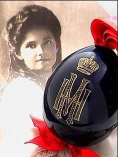 Imperial Presentation Egg, circa 1915. Porcelain cobalt blue egg is decorated with gilded cipher of Grand Duchess Maria Nikolaevna (1899-1918), the third daughter of Nicholas II.The egg was given by Grand Duchess Marie Nikolaievna as a gift on Easter day.