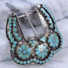 Vintage Sterling Silver - NAVAJO Pebbled Floral Turquoise - Belt Buckle