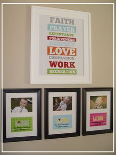 I love you because frames.  A neat way to let your kids know all of the ways you love them and what you are proud of them for.