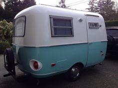 Aqua blue stripe boler - after. Scamp Camper, Boler Trailer, Mini Camper, Camper Caravan, Camper Trailers, Small Camping Trailer, Rv Travel Trailers, Vintage Travel Trailers, Camper Interior Design