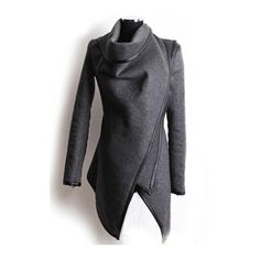 Long Sleeve PU Paned Grey Asymmetric Coat (38 CAD) ❤ liked on Polyvore featuring outerwear, coats, jackets, tops, coats & jackets, grey, long grey coat, gray coat, long sleeve asymmetric coat and long coat