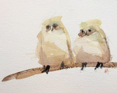 Tufted Titmouse no. 42 Original Bird and Floral by prattcreekart