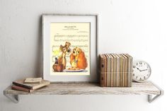 Here is a sheet music art print of the Lady and the Tramp. This is perfect for any Lady and the Tramp/Dog/Disney fanatic!  Be sure to let us know which print you prefer: Image 1 or Image 2. Thanks!  We print this on quality photo paper, which measures approximately 8.5x11, and ship it in a heavy-duty envelope to ensure it arrives intact. FRAME NOT INCLUDED.  11x15 Poster: $20.00  Take advantage of our Buy 2 Prints, Get 1 Free special! Simply purchase any two prints in our shop, and...