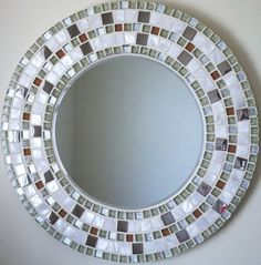 Round mosaic mirror hand made wedding gift wall art mother Mirror Mosaic, Mosaic Wall, Mosaic Glass, Mosaic Tiles, Glass Art, Sea Glass, Mosaic Crafts, Mosaic Projects, Mosaic Tile Designs