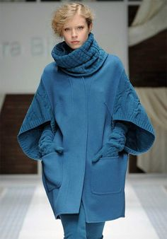 Design Inspiration | combining knit with woven coat, great sleeves