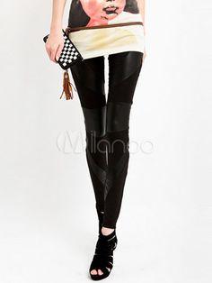 Faux Leather Cotton Patchwork Pattern Cotton Womens Leggings-No.1