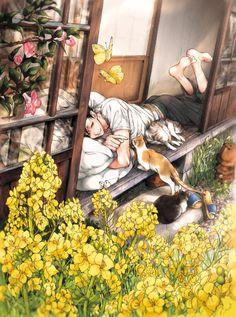 """""""Cat's Love of Summer"""" /// Haikyuu Kuro Nekoma summer fan art"""