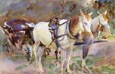 The Athenaeum - Study of Horses, Jerusalem (John Singer Sargent - )