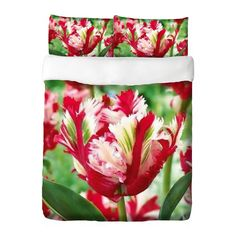 Dreaming of Spring? Dream no more! A beautiful duvet cover and matching pillowcases with a tulip design in red, white and green will bring Spring to your bedroom. Duvet cover and pillowcases are sold separately. #duvet #flower #tulip