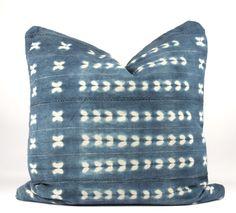 """Butterflies in Blue Mudcloth Pillow 24"""" x 24"""""""