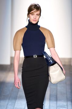 I love this outfit! I can see myself wearing this dress, with the rounded shoulders, and i do love the colour blocking.
