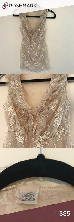 Only Hearts Lace Tank Excellent condition. Only worn once. Nude lace tank with ruffled design v neck. Purchased from Anthropologie Anthropologie Tops