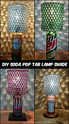 Turn Trash to Treasure by Turning Soda Pop Tabs Into a Lamp Shade Soda Tab Crafts, Can Tab Crafts, Aluminum Can Crafts, Bottle Cap Crafts, Diy Bottle, Diy Projects Soda Cans, Pop Can Diy Projects, Pop Can Art, Pop Art