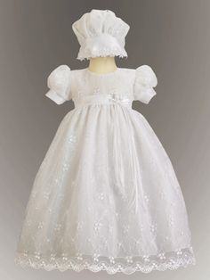 Emma Embroidered Tulle Girl White LDS Blessing Dress - Swea Pea - Maylee's Boutique