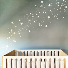 White and silver stars wall stickers. Nicolasito.es shop. Nursery decoration. Baby and kids wall decals