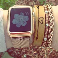 Rose gold with Apple Watch - Rustic Cuff smart watches - http://amzn.to/2ifqI9j