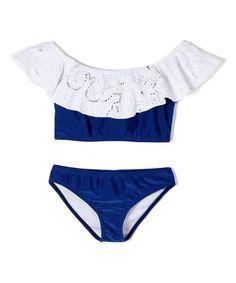 Love this White & Blue Hamptons Weekend Peasant Top Bikini - Girls on #zulily! #zulilyfinds