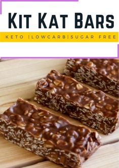 Description: This homemade keto kit kat bars loaded with low carb crispy cereal, seeds and nuts is like to call as a SHOWSTOPPER! Tastes like a kit kat bar! No dairy, no sugar and no grains whatsoever! Vegan and Paleo. Low Carb Sweets, Low Carb Desserts, Low Carb Recipes, Vegan Sweets, Ketogenic Desserts, Keto Snacks, Ketogenic Diet, Donut Recipes, Dessert Recipes