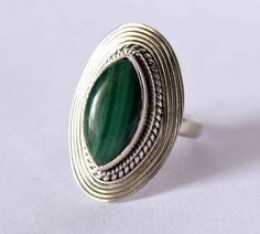 Melachite ring, silver ring, stone ring, silver Melachite ring, 92.5 sterling silver, Melachite Silver Ring,RNSL201 by avicraft on Etsy https://www.etsy.com/listing/201803351/melachite-ring-silver-ring-stone-ring