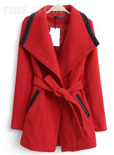 Stylish Multi- Color Lapel Trench Coat With Belt, Korean Clothing Online