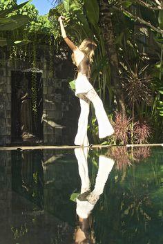 Finding Balance in Organic Bamboo Cotton Bali Boho Pant + Antique Lambskin Leather Halter top w/ Fringe