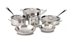 All-Clad 401488R Stainless Steel Tri-Ply Bonded Dishwasher Safe Cookware Set, 10-Piece, Silver ** Remarkable product available now. : Cookware Sets