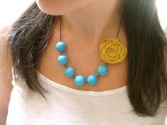 Vintage Spain fabric flower necklace beaded by HappyLittleLovelies, $26.00