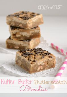 Nutter Butter Butterscotch Blondies by www.crazyforcrust.com | A blondie filled with Nutter Butter Cookies and peanut butter chips, topped with butterscotch!
