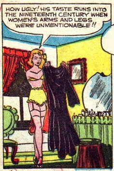 Vintage Comic, Pop Art Como feio seu gosto funciona no século XIX em que os braços e as pernas das mulheres eram imencionável