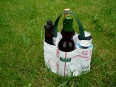 Recycled 6 Pack Carrier or A Round of Beer ( for EURO or 1 PINT BOTTLE). $12.00, via Etsy.
