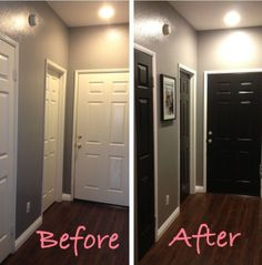 Black doors - Behr Ultra Black Suede Wall - Behr Ultra Anonymous. Interesting - under consideration...