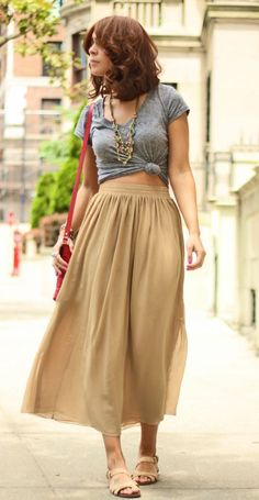 nude midi skirt outfit- safari style- Modest clothing by She Traveled online store http://www.justtrendygirls.com/modest-clothing-by-she-traveled-online-store/