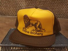 c43e699013c Vintage FELINE ARCHERY Lion Orange   Brown Mesh SnapBack Trucker Hat Cap   fashion  clothing  shoes  accessories  vintage  vintageaccessories (ebay  link)