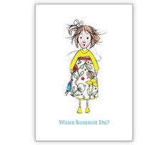 Kleines Mädchen: Wann kommst Du? - http://www.1agrusskarten.de/shop/kleines-madchen-wann-kommst-du/    00018_0_1687, Einladung, Gratulation zum Mädchen, Heimweh, Illustration, Kunst, Liebe, Sehnsucht, Vermissen, vermisst00018_0_1687, Einladung, Gratulation zum Mädchen, Heimweh, Illustration, Kunst, Liebe, Sehnsucht, Vermissen, vermisst