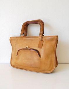 Very Rare 60s Coach Vintage Watermelon Kisslock Cashin Tote Bag In Tan