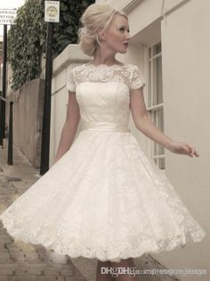 2014 High Quality Cheap vintage wedding dresses lace Short Sleeve A-Line Bateau White Tea length Beach Bridal Gown