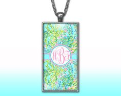 Blue Pastels Monogram Pendant Charm Necklace Personalized Custom Silver Plated Jewelry