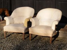 A pair of Tub chairs covered in calico circa 1880.  Height - 80cm Width - 75cm Depth of seat - 53cm.  SOLD
