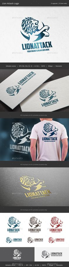 Lion Attack Logo — Vector EPS #symbol #business • Available here → https://graphicriver.net/item/lion-attack-logo/15229912?ref=pxcr