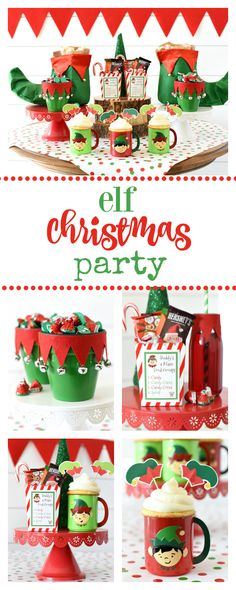 Elf Themed Christmas Elf Themed Christmas Party-Throw this party while you watch Elf! Or just throw it as a fun kid's holiday party. You're going to love the treats favors games and fun involved! School Christmas Party, Christmas Party Ideas For Teens, Christmas Movie Night, Adult Christmas Party, Christmas Party Themes, Kids Party Themes, Holidays With Kids, Xmas Party, Holiday Parties