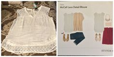 Stitch Fix item: Fate McCall lace detail blouse  status: returned  Stitch Fix Review: though this blouse was really cute it was unfortunately too small for my chest. I loved the detail on it and the color was perfect. Just wish I could wear white without ruining everything I wear.