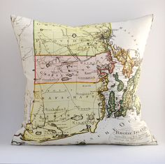 Ready to Ship RHODE ISLAND Vintage Map Pillow 18x18 by saltlabs, $49.00