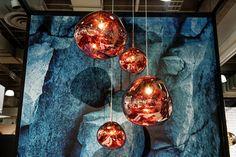 Melt Pendant Copper at ICFF NY 2015 #tomdixon #meltpendant #pendantlighting #copperlighting