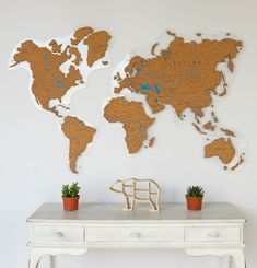 Cork World Map by GaDenMap. Push Pin travel map for wall office decor, bedroom, living room, kid's room decorating. Unique gift idea for travelers Map Wall Decor, Wooden Wall Decor, Map Wall Art, Cork World Map, Home Office Decor, Office Ideas, Wooden Map, Globe Decor, Branch Decor