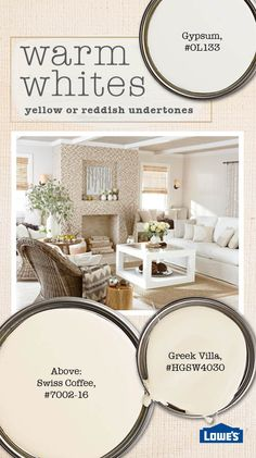 Understanding the undertones of white paint can help you select the best option to freshen up your space. Warm whites - antique, cream, vanilla - have undertones of yellow, pink or red. Antique and cr(Best Paint Colors) Interior Paint Colors, Paint Colors For Home, Interior Painting, Lowes Paint Colors, Indoor Paint Colors, House Paint Interior, Wall Colors, House Colors, Cream Paint Colors