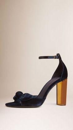 Bow Detail Velvet Sandals